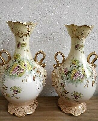 Pair Antique Lrg Blush Myers Daisy Pattern Urns Handled Vases 32cm Tall Perfect. • 78£