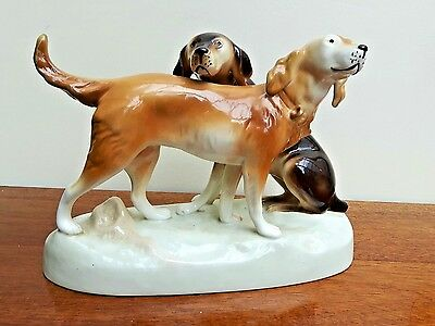 Royal Dux Working Dog Duo Figurine Setter/Pointer 303 • 90£