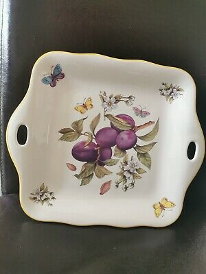 Prinknash Pottery Abbeyfruits Ornimental Tray With Plums And Butterflies,Lovely. • 11.99£