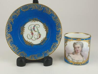 Superb Sevres Bleu Celeste Portrait Coffee Can & Saucer, Madam Genlis C1780 • 650£