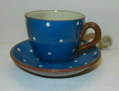 WATCOMBE Cup & Saucer In White Spot Design • 14£