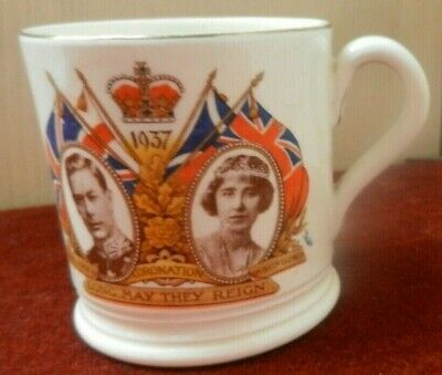 GEORGE VI Elizabeth Coronation 1937 MUG  - BY BOVEY POTTERY • 18£
