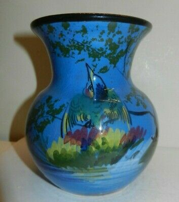 LEMON & Son (Weston Super Mare) POTTERY Kingfisher  VASE 11 Cm • 19£