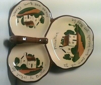 Princetown Cheese,Butter And Biscuits Triple Dish With Cottage/motto Design • 17£