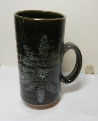 Lotus Pottery Mug Brown / Green Floral Design • 18£