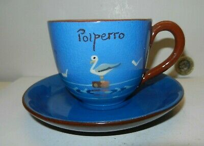 Polperro  St Marychurch  Pottery  Cup & Saucer  Seagulls  • 15£