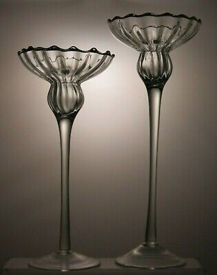 Lovely Pressed Glass Candle Holders Set Of 2 • 29.99£