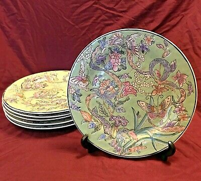 VTG Set Of 6 Chinese Export Qianlong Style Painted Fantasy Garden Plates - 10.5  • 54.86£