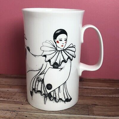 Vintage Pierrot Clown And Doves Bone China Mug By Dunoon • 14£