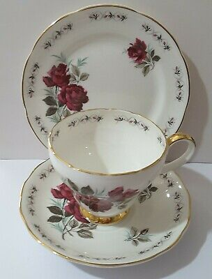 Adderley Persian Rose Trio Of Tea Coffee Cup Saucer And Side Plate Vintage  • 10£