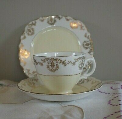 Tea Cup Trio, English Bone China, Vintage Royal Vale, Yellow,Shabby Chic • 7.50£