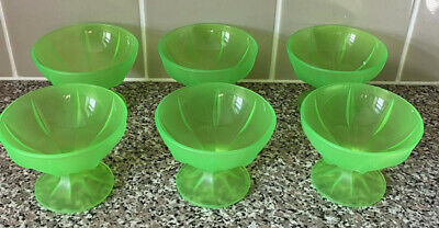 Rare Vintage Set Of 6 Uranium Green Glass Sundae Dishes Made In France Excellent • 48£