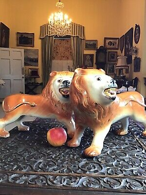 Huge Pair Victorian Bo'Ness Golden Pottery Standing Lions Glass Eyes • 75£