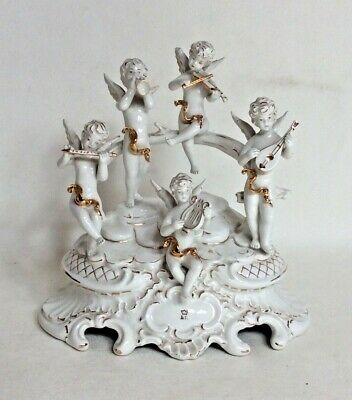 Continental Signed Perfect Figural Group Of Cherub Musicians. • 65£