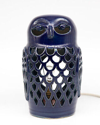 Vintage Glazed Pottery Lamp In Form Of Owl By Cairncraft Pottery Of Basingstoke • 34.99£