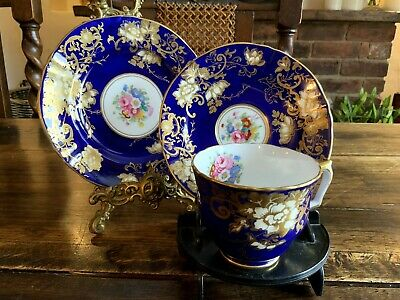 Antique Royal Crown Staffordshire Cup Saucer And Tea Plate • 35£