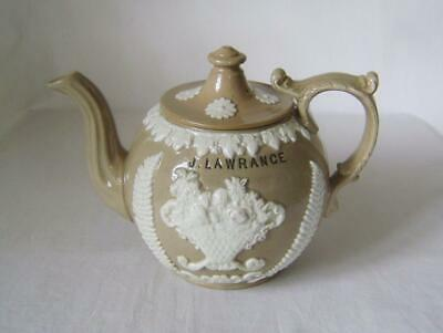 Victorian Drabware Teapot With White Sprigs & Owners Name: J. Lawrance • 60£