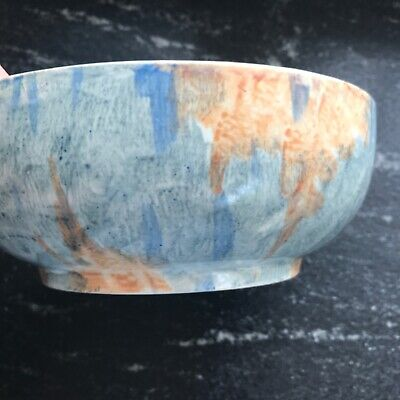 Art Deco 1930s Burleigh Bowl-unusual Hand Painted Blue & Apricot Abstract Design • 24£
