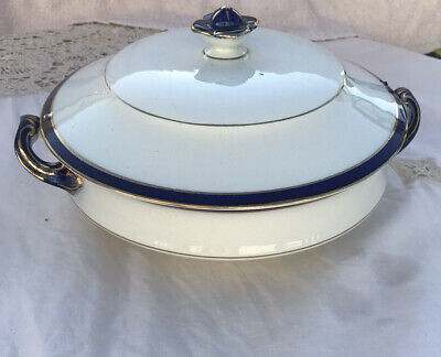 VINTAGE Lidded Tureen Serving Dish Blue/White With Gold Leaf,lovely Condition • 3.95£