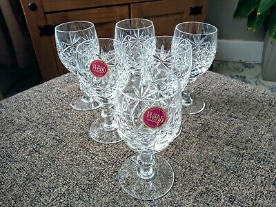 6 X Webb Continental Oxford Crystal Wine Glasses • 19.99£