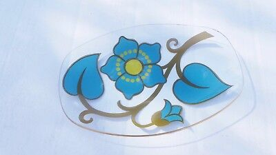 Vintage 70's Chance Glass Oval Dish Turquoise And Yellow • 16.99£
