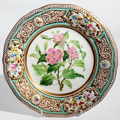 Antique English China Hand Painted Cabinet Plate Hawthorne Blossom Reg Mark 1855 • 59.99£