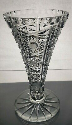 Vintage Cut Glass Crystal Queens Lace Vase • 14.99£