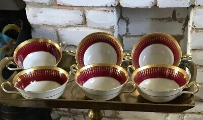 6 X Stunning Aynsley Bone China Red And Gold Double Handled Soup Coups 7081 • 25£