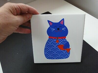 SCANDINAVIAN Ceramic TILE Of A CAT With FISH With Soft Backing CUTE! VGC • 5£