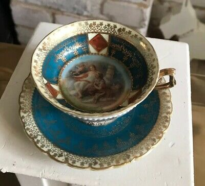 Gorgeous  Early Antique Vienna Small Pretty Cabinet Cup And Saucer Duo • 10.50£