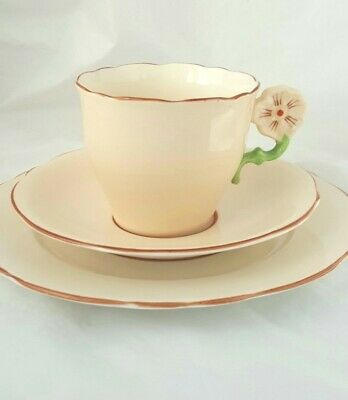 Vintage Aynsley Peach Colour Flower With Green Stem Handle Trio Super Condition • 5.50£