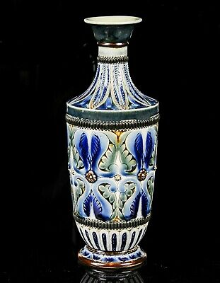 Doulton Lambeth Blue Brown Green Floral Foliate Stoneware Vase, Dated 1880 • 100£