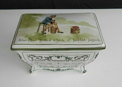 ANTIQUE ROYAL DOULTON HUNTLEY & PALMERS 'PETER PIPER' BISCUIT CASKET BOX C1905 • 110£