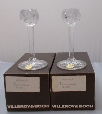 Villeroy And Boch - 2 X Wildrose 24% Lead Crystal Candlesticks NEW BOXED • 14.99£