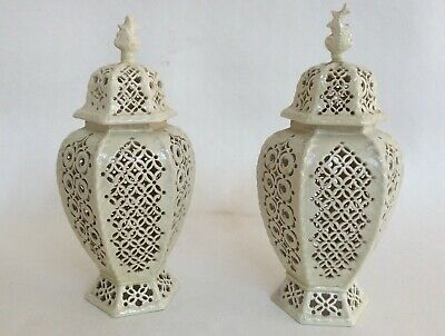 Par Of Antique Signed Leeds Pottery Creamware Openwork Pot Pourri Vases • 465£