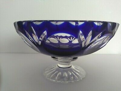 Vintage Bohemian 2.75   Comport ?  Blue Cut  To Clear  Glass • 20£