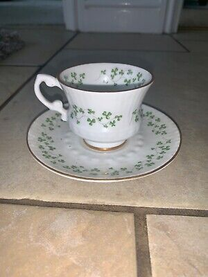 Vintage Original Royal Tara Georgian Trellis Shamrock Cup And Saucer • 29£