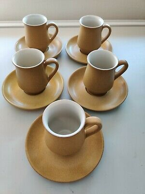 5x RETRO VINTAGE | DENBY ODE COFFEE / TEA CUPS & SAUCERS | VERY GOOD CONDITION • 16.95£