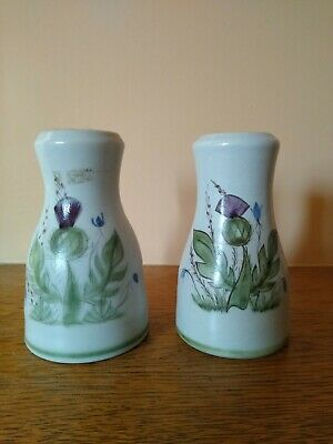 Two Vintage Buchan Pottery Pepper Pots Thistle Design • 3£