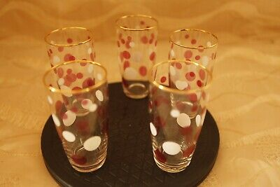 Five Vintage 1960s Drinking Glasses Pink And White Spots With Gold Colour Rim • 5£