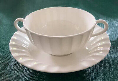Royal Worcester Warmstry White (plain) Fluted Two Handled Soup Bowl & Saucer  • 20£