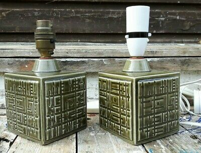 Fine Pair Poole Pottery Helios Lamp Bases 1964 • 41£