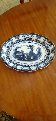 Antique Valencia Opaque China H&s Blue White Pottery Meat Roast Plate Platter • 3£