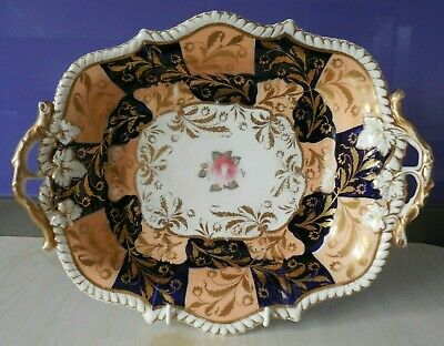 Antique Victorian Porcelain Serving Dish. Attractive Pattern With Gilded Finish • 19£