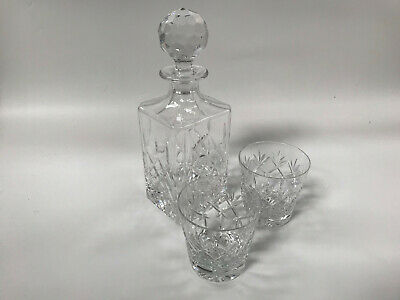 Lead Crystal Decanter And 2 Glasses • 2£