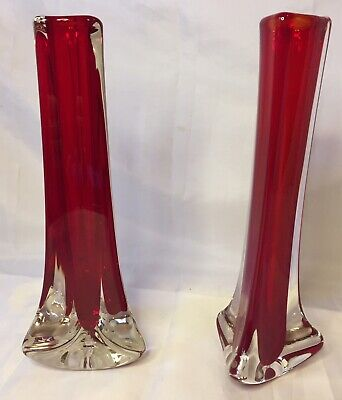 Whitefriars Glass Tricorn Red Pair Vases Great Examples • 3.10£