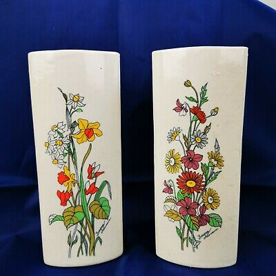 Pair Vintage Wall Vase White Flowers Daffodils Daisy • 14£