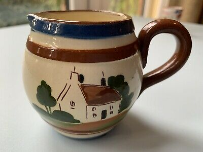 """Torquay Ware Small Milk Jug (""""Be Just And Fear Not"""") • 4£"""