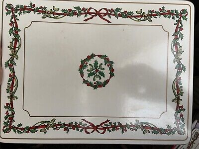 Set Of 6 Royal Worcester Christmas Holly Ribbons Table Place Mats • 6.20£