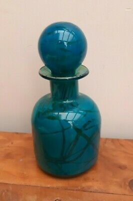 Vintage MDINA Art Glass Bottle Decanter MING Blue & Green Signed • 34£
